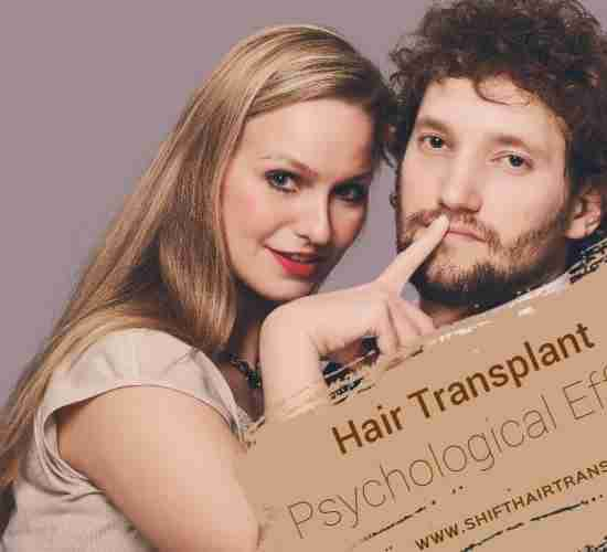 Hair Transplant Psychological Effects, A blonde woman putting finger on lips of a handsome guy with thick hair.