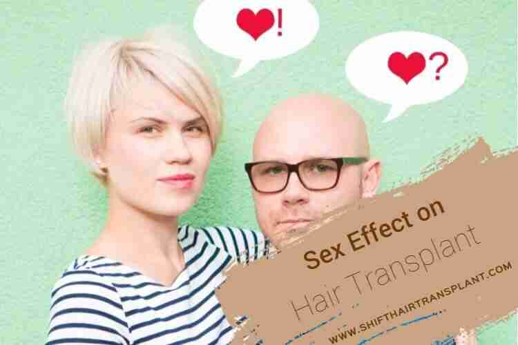 Sex Side Effects, couple on a light green background bald man and blonde lady thinking.