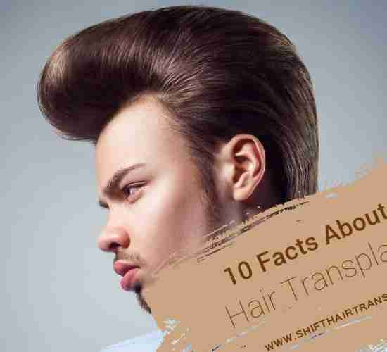 Hair Transplant Facts, An old-style man haircut on a light blue background.