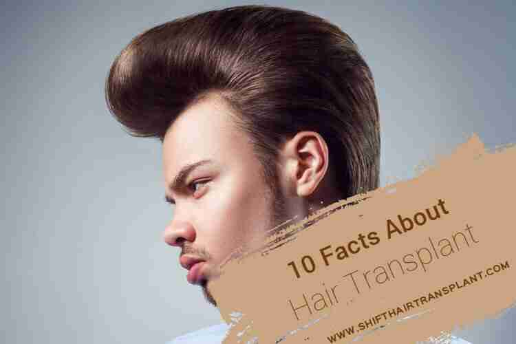 Hair Transplant Facts, an old style man haircut on light blue background.