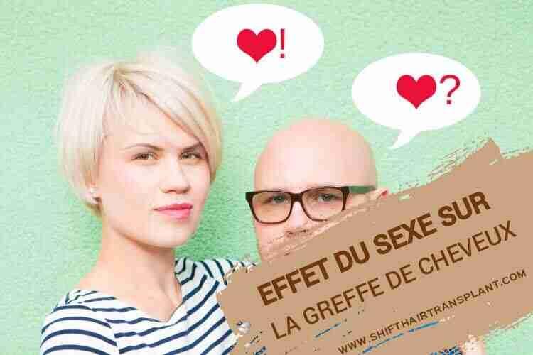 Effet sexuel sur la greffe de cheveux, Couple sur un homme chauve de fond vert clair et blonde femme pensant.
