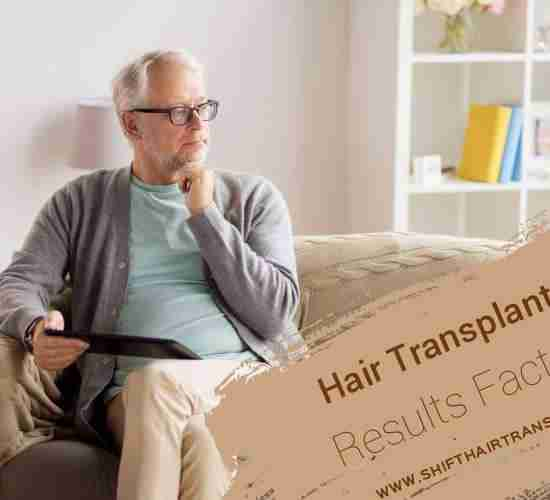 Hair Transplant Result Factors, An old man on couch wondering and holding a tablet.