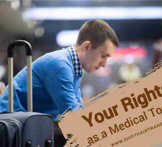 Medical Tourist Rights, A Caucasian man sitting and waiting in the airport.
