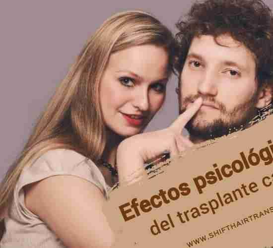 Efectos psicológicos del trasplante capilar, Una mujer rubia que pone el dedo en los labios de un chico guapo con pelo grueso.