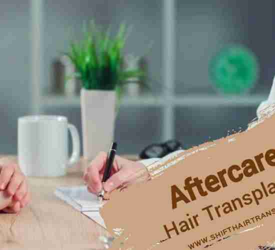Hair Transplant Aftercare, A doctor prescribing for a patient.