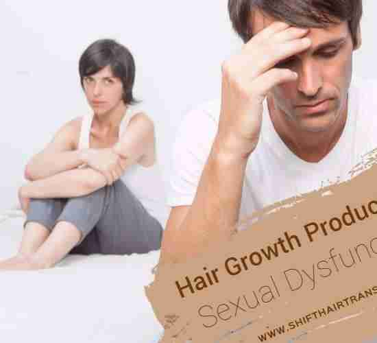 Hair Growth Products Sexual Dysfunction, a couple on the bed with the man's having no erection.