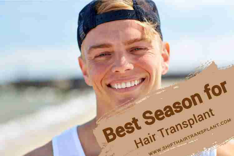 Hair Transplant Best Season, a happy white man with a cap on the beach.
