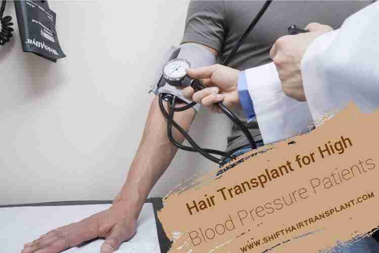 High Blood Pressure Patients Hair Transplant, a doctor is measuring the blood pressure of a male patient in a grey T-shirt.