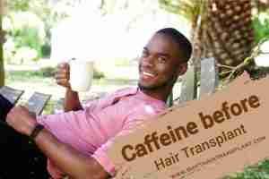 Caffeine Hair Transplant, a black man on a hammock drinking coffee.