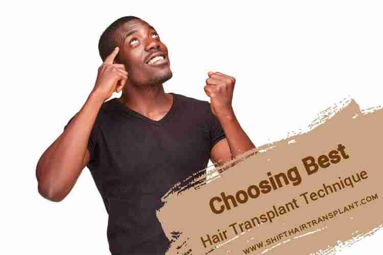 Choosing Best Hair Transplant Technique, a happy black male after finding the idea on a white background.