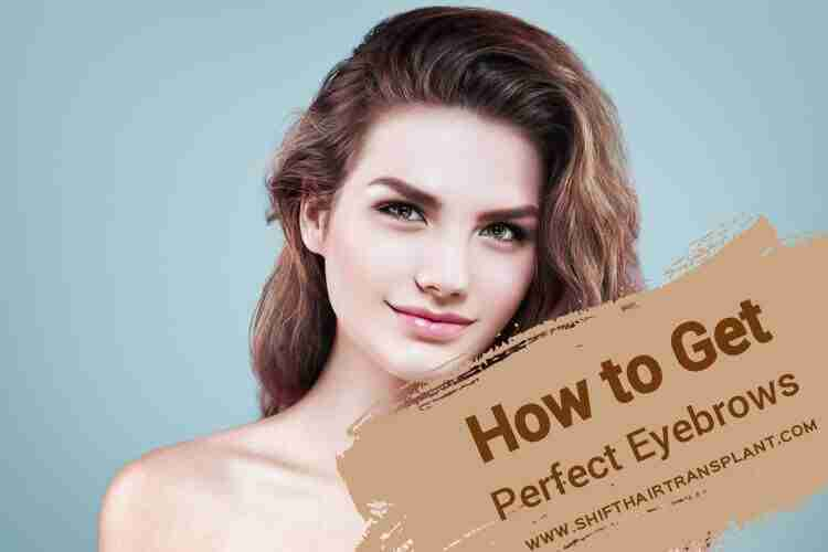 Getting Perfect Eyebrows, a confident brunette on a blue background.