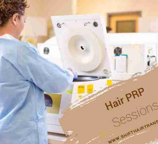 Hair PRP Sessions, a female nurse setting tubes for PRP into a centrifuge device.