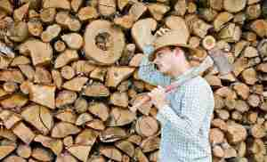 A lumberjack in a blue shirt holding an axe on his shoulder in front of trunks.