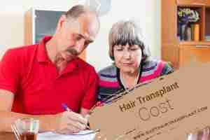 Hair Transplant Cost, an middle-aged couple calculating.