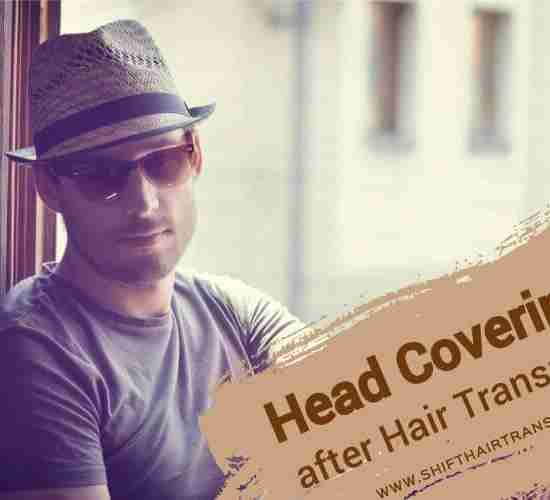 Hair Transplant Head Coverage, a vintage style male with hat.
