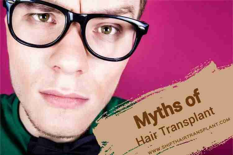Hair Transplant Myths, an amazed male with glasses lifting an eyebrow on a fuchsia background.