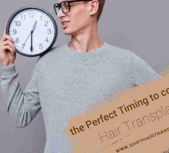 Hair Transplant Perfect Timing, a man holding a clock on his shoulder wearing a grey blouse on a grey background.