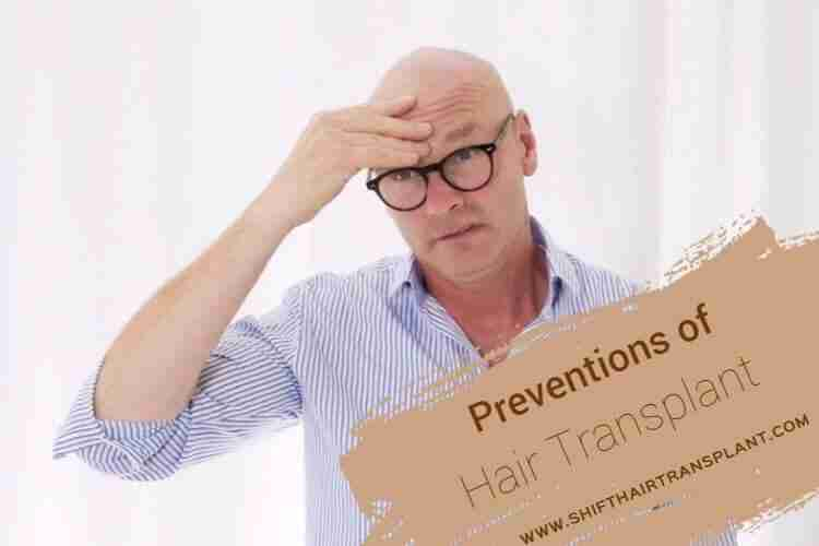 Hair Transplant Preventions, a bald man with glasses wearing a blue shirt on a white background.