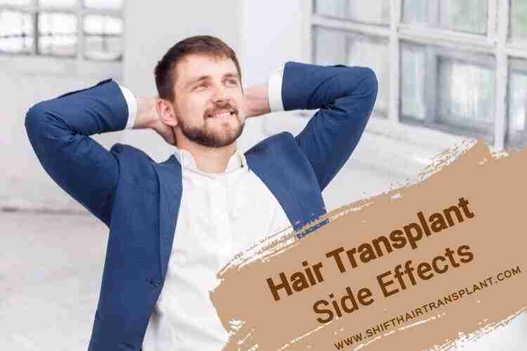 Hair Transplant Side Effects, a satisfied business man in a blue blazer in his white office.