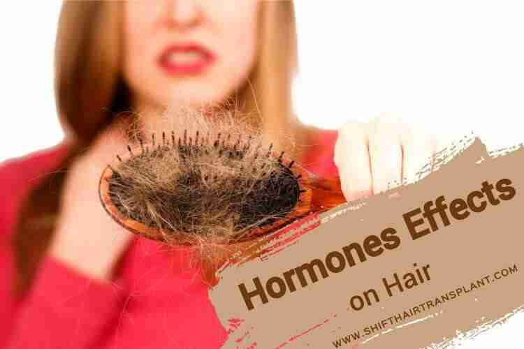 Hormones Hair Effect, a woman showing her brush with a lot of a fallen hair wearing a red blouse on a white background.
