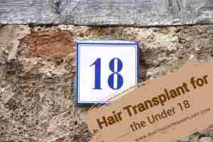 Minors Hair Transplant, A sign with a blue 18 written on it.