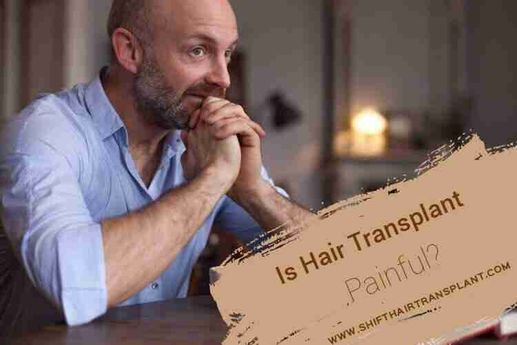 Painful Hair Transplant, an anxious bald man in a blue shirt in his living room.