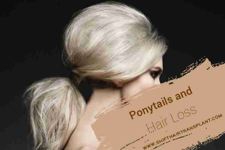 Ponytails Hair Loss, the profile of a blonde girl with ponytail on a black background.