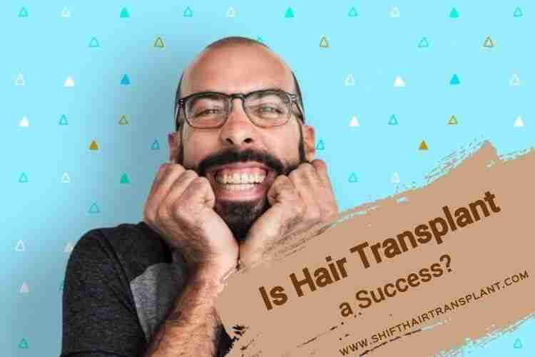 Successful Hair Transplant, a happy bald man with glasses on a blue background.