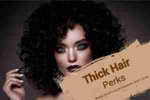Thick Hair Perks, a brunette with a curly hair on a light black background.